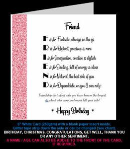 'Best Friend Poem' Birthday Card, Christmas Card, Amazing Friend, Special Friend