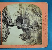 1860/70s Stereoview Photo Gorge Du Trient A Vernayaz Pres Martigny E Lamy Suisse