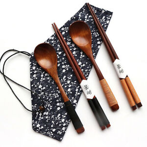Portable Japanese Vintage Travel Wooden Chopsticks Spoon Tableware Set Xmas Gift
