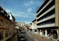WESTERLAND Sylt um 1970 Strandstrasse Partie mit Autos an der Sparkasse color