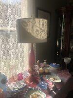 "Rare Mid Century Murano Art Glass Italian Lamp Pink & Gold Fleck 37"" Tall"