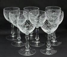 Peill & Putzler Cut Crystal Set 8 Water Goblets Floral Lattice Vintage Stemware