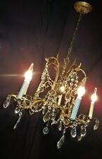 VTG DECO ERA VICTORIAN FRENCH BRASS CHANDELIER FIXTURE CRYSTALS