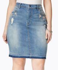 Skirt 18W Plus Nanette Lepore NWT $85 Rhinestone Trimmed Denim Medium Wash TM272