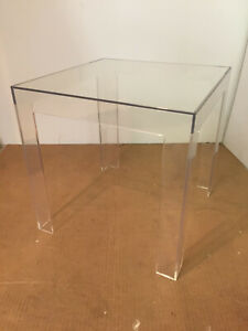 NIB Kartell JOLLY 8850/B4 table, CRYSTAL clear plastic, designer Paolo Rizzatto