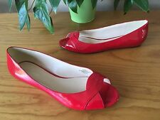 Ladies Nine West red patent flat peep toe ballerina shoes UK 7 EU 40 US 9M
