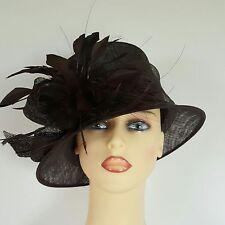 Señoras sombrero Formal Boda Carreras Madre Novia Marrón Oscuro Emma B Balfour Inglaterra