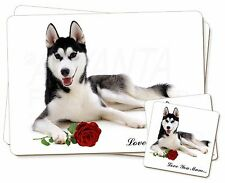 Husky with Rose 'Love You Mum' Twin 2x Placemats+2x Coasters Set i, AD-H55RlymPC