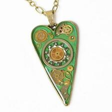 STEAMPUNK GREEN HEART NECKLACE PENDANT BRONZE GEARS COG WATCH PARTS RESIN UNIQUE