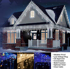 Outdoor Christmas LED Icicle Lights,Timer,2.5M,5M,10M,20M UK Mains Connectable