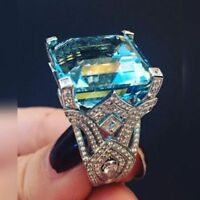 Charm 925 Silver Women Jewelry Aquamarine Gemstone Wedding Bridal Ring Size6-10