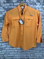 NWT Columbia PFG Large Omni-Shade Long Sleeve Vented Orange Fishing Shirt