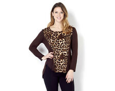 QVC Chelsea Muse by Christopher Fink Leopard Printed Front Tunic BROWN