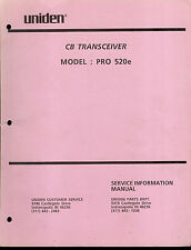 Original Factory Uniden Pro 520e 40 Channel Cb Radio Service Manual