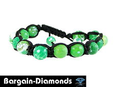 shamballa 10 mm spring green agate beads black silk macrame bracelet unisex
