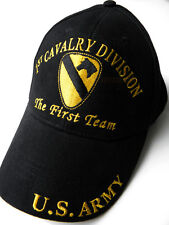 1ST CAVALRY THE FIRST TEAM US ARMY BRASS BUCKLE EMBROIDERED BASEBALL CAP HAT