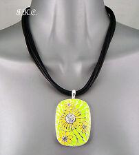 Deco Nouveau Green Enamel Mosaic Floral Statement Necklace w/ Swarovski Crystals