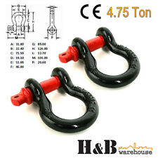 2 x Bow Shackles WLL 4.75 T Rated 19mm 4WD Recovery Tow Car Trailer Red C0039