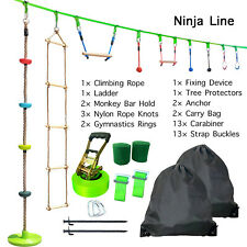 42.5ft Ninja Warrior Obstacle Course for Kids Ninja Line Slackline Climbing Rope