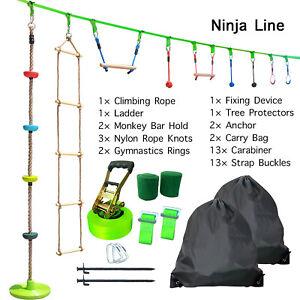 50ft Ninja Warrior Obstacle Course for Kids Ninja Line Slackline Climbing Rope