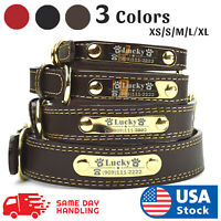 PU Personalized Dog Collars Name ID Collar with Name plate XS-XL Engraved