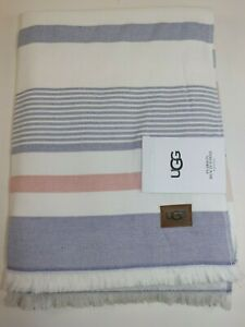 NWT $95 UGG HOME 70x40 Navy Multi Striped PEARSON BEACH French Terry Towel