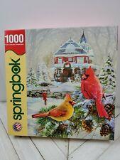SPRINGBOK 1000 pc puzzle cardinal holiday retreat winter snow bird