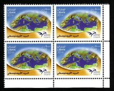 EUROmed Postal stamp 2014 Block/4 Right MNH The First Common stamp PUMed Lebanon