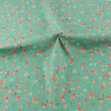 Teramila Cotton Fabric Flower Pattern Meter Green Twill 100cmx160cm Sewing Cloth