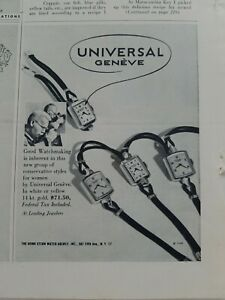 1948 Universal Geneve white or yellow gold women's wrist watch vintage ad