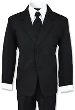 Formal Boy Kids Dress Suit Set Tuxedo BlackSize 4