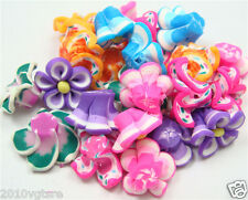free sell 5Pcs Mixed 3 color Flower Flat Back Cabochon Polymer Clay Beads u115da
