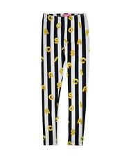 ISAAC MIZRAHI GIRLS LEGGINGS 'THICK STRIPES LETTERS' BLACK WHITE YELLOW SIZE L