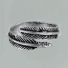 Feather Adjustable Ring - Pewter Antique Finish Wrap Around Finger Bird Angel