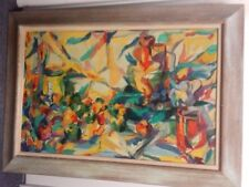 ABSTRACT PAINTING ARTIST P. AMGRIST VIBRANT COLORS NEAT OLD WOOD FRAME 22.5 X 33