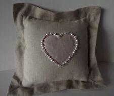 "Hallmark Decorative Pillow 8-1/2"" Sq Linen Cotton Pearl Bead Trimmed Pink Heart"