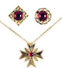 Drácula Vampiro Collar Medallón + 2 Anillos ROJO RUBÍ , Oro Halloween