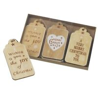 Set of 6 Natural & Glitter Wooden Message Tags Christmas Tree Decorations 4x8cm
