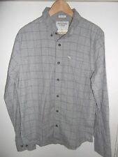 Mens ABERCROMBIE & FITCH GREY COTTON CHECK SHIRT SIZE LARGE MUSCLE FIT