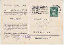 German Reich Firmenlochung Perfin Spinning Chemnitz 1929