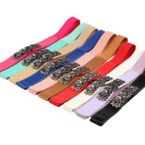 Alloy Rose Imitation Leather Retro Double Buckle Elastic Girdle Charm Waist Belt
