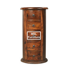 Solid Sheesham Wood 5 Drawer Large Drum Telephone Lamp Table Unit | Madras Range