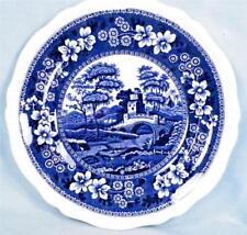 Copeland Spode Tower Salad Plate Blue Gadroon Older Mark Full White Flower #3 51
