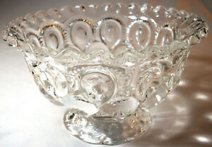 Smith/Wright Clear Glass MOON & STAR: Footed 7-in. Ruffle-Edge Bowl: EXC:NR