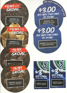 8 Skoal Tobacco Coupons - $41 off total