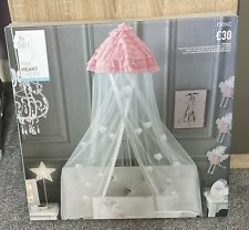 BNIB Next Pink, Silver & White Heart Bed Canopy RRP £30