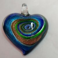 "Art Glass Pendant Heart Blue Green Copper Dichroic Swirl 1.5"" Glass Bale"