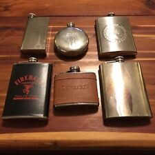 Lot of 6 Hip Pocket Screw on Whiskey Flasks