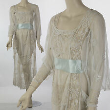 Antique Edwardian early 20th century embroidered lace dress bridal wedding party