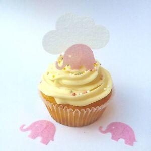 60 Pink Elephant & Cloud PRECUT Edible Cake Topper Birthday Christening Baking